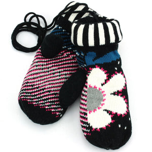 Ladies Flower Mittens - Black