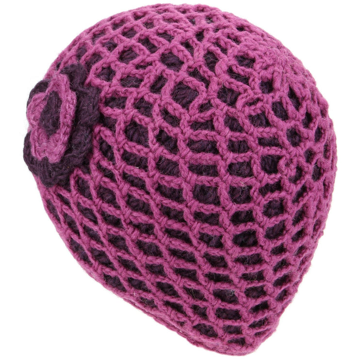 Ladies Wool Knit Crochet Lattice Beanie Hat with Flower - Pink