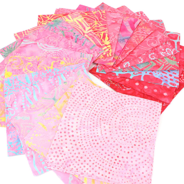 Cotton Batik Charm Pack Pre Cut Fabric Bundle - Pinks to Reds