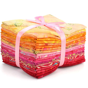 Cotton Batik Pre Cut Fabric Bundles - Fat Quarter - Red to Orange