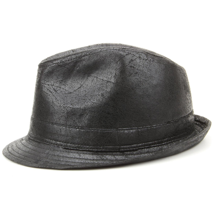 Vintage Effect Cracked Leather Trilby Hat - Black