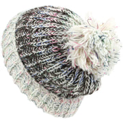 Chunky Wool Knit Baggy Slouch Beanie Hat with Contrast Turn-up and Bobble - Off White
