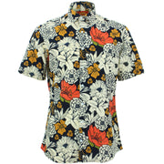 Tailored Fit Short Sleeve Shirt - Bold Japanese Floral