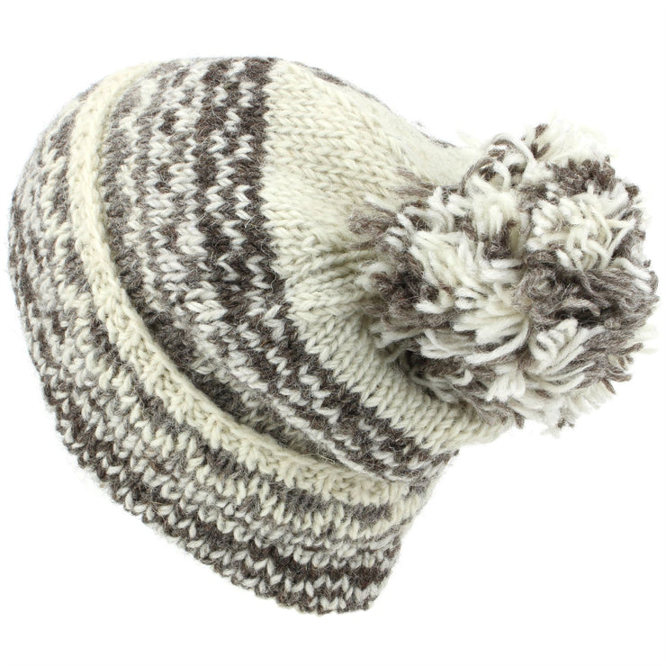 Chunky Wool Knit Baggy Slouch Beanie Bobble Hat - Off White