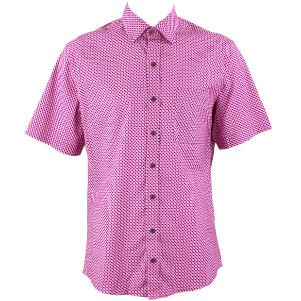 Regular Fit Short Sleeve Shirt - Pink & Purple Crosshatch