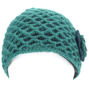 Ladies Wool Knit Crochet Lattice Beanie Hat with Flower - Teal & Green