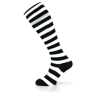 Long Knee High Striped Socks - White & Black