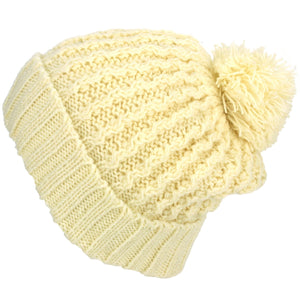 Cable Knit Bobble Beanie Hat - Cream