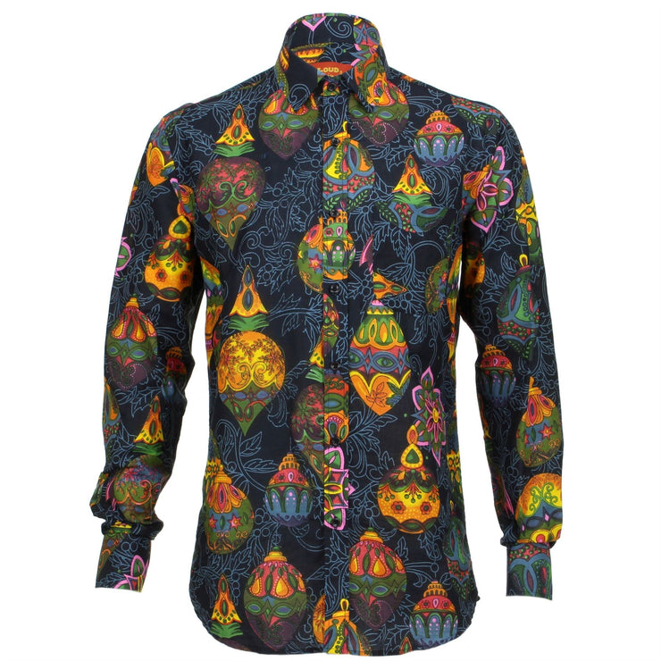 Regular Fit Long Sleeve Shirt - Black with Colourful Baubles
