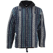 Fleece Lined Brushed Cotton Hooded Jacket Cardigan - Blue & White