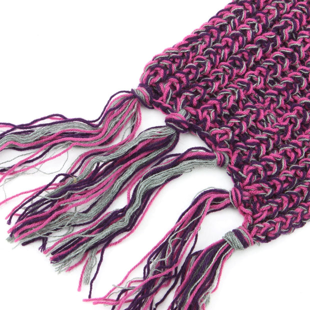 Long Narrow Acrylic Wool Knit Scarf - Pink & Purple