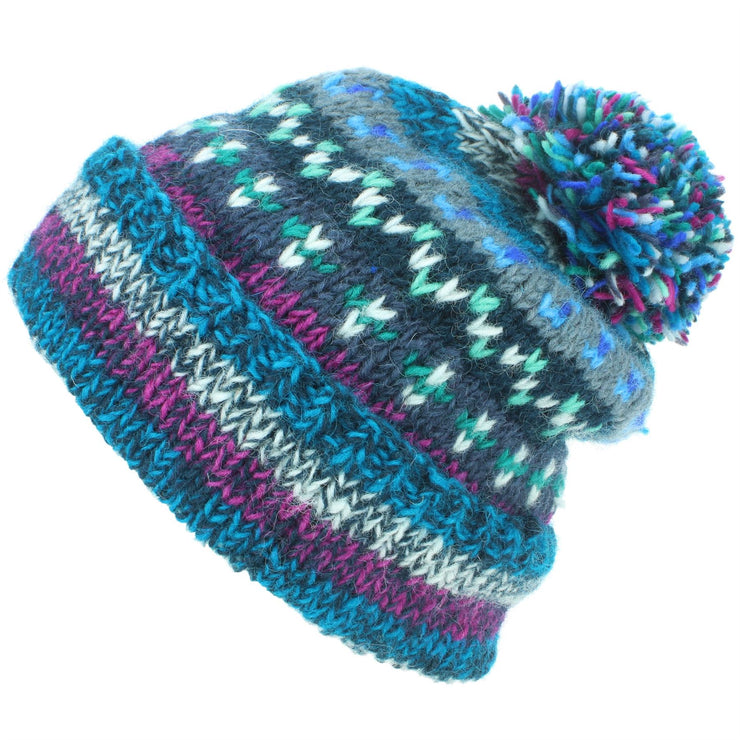 Chunky Wool Knit Abstract Pattern Beanie Bobble Hat - Blue