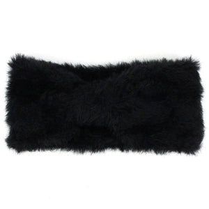 Bowknot Faux Fur Headband - Black
