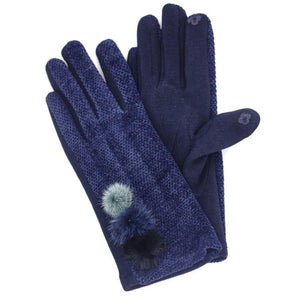 Ladies Velvet Gloves - Navy