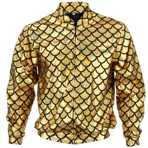Unisex Fish Scale Bomber Jacket - Gold