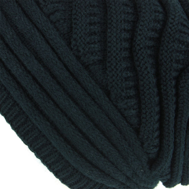 Chunky Ribbed Slouch Beanie Hat with Faux Fur Bobble - Black