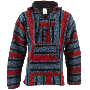 Mexican Baja Jerga Hoody - Blue & Red