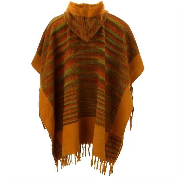 Soft Vegan Wool Hooded Tibet Poncho - Mustard