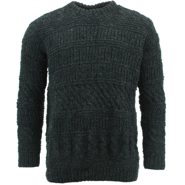 Chunky Wool Multi Knit Jumper - Charcoal