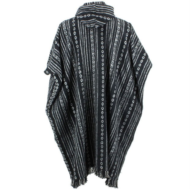 Brushed Cotton Long Hooded Poncho - Black Diamond