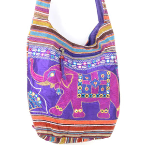 Embroidered Elephant Canvas Sling Shoulder Bag - Purple
