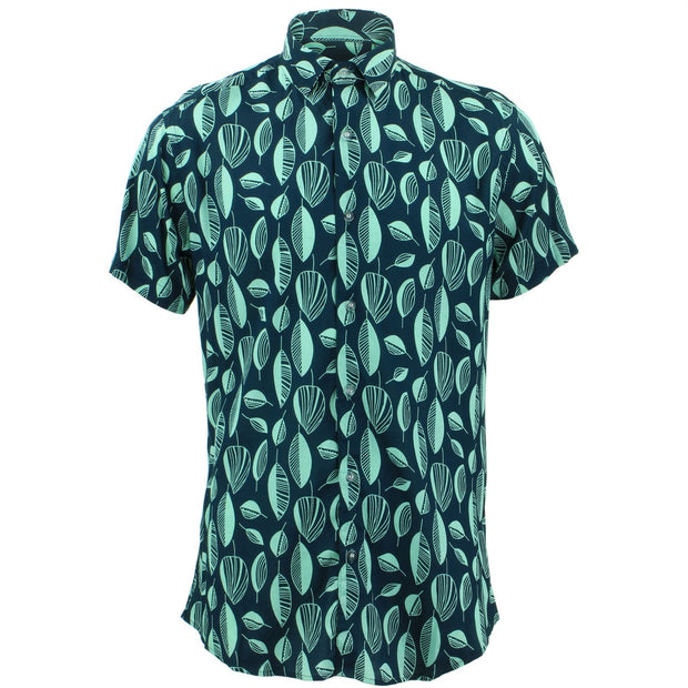 Tailored Fit Short Sleeve Shirt - Abstract Leaves
