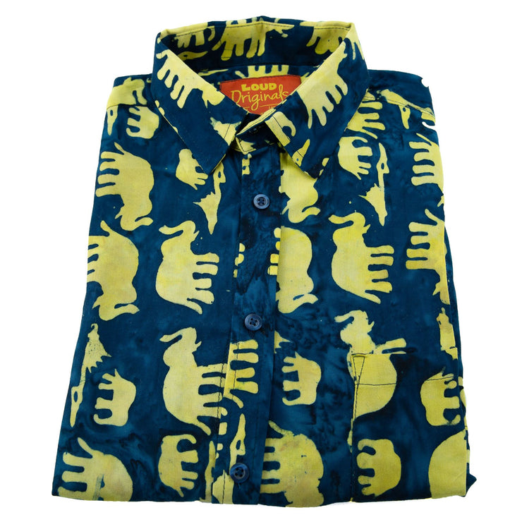 Regular Fit Long Sleeve Shirt - Herd of Elephants - Blue