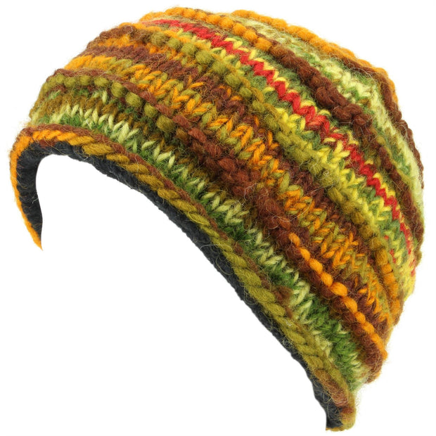 Chunky Ribbed Wool Knit Beanie Hat with Space Dye Design - Green & Brown