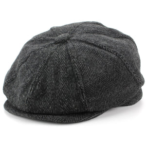 Wool Tweed Gatsby Newsboy 8 Panel Flat Cap Hat - Grey