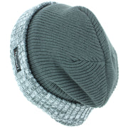 Fine Knit Beanie Hat with Thermal Lining and Marl Turn-up - Green