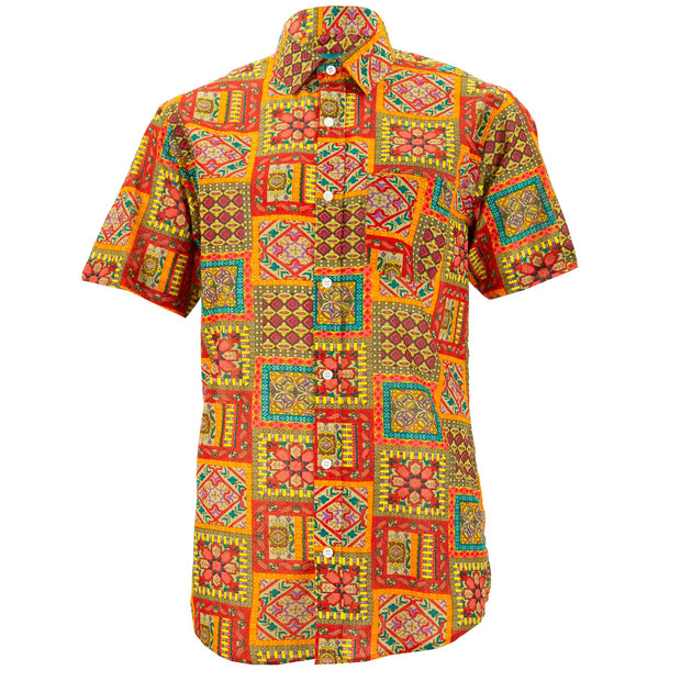 Regular Fit Short Sleeve Shirt - Patchwork