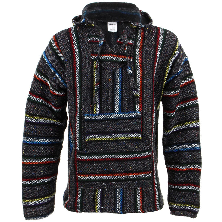 Mexican Baja Jerga Hoody - Grey & Rainbow Stripe