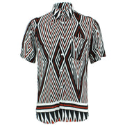 Tailored Fit Short Sleeve Shirt - Black & White Diamonds