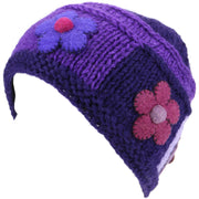 Ladies Wool Knit Beanie Hat with Flower Patch Design - Purple
