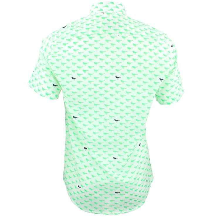 Tailored Fit Short Sleeve Shirt - Green & Black Birds