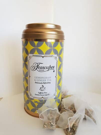 Teascapes Lemongrass & Ginger Organic Pyramid Tea Bags - 40 bag tin