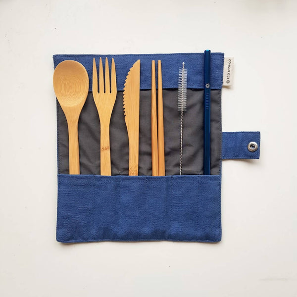 1 Eco Bamboo Cutlery Set with Metal Straw | Sustainable | Zero Waste