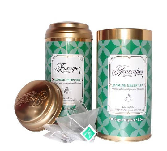 Jasmine Green Tea Pyramid Bags - 40 bag tin