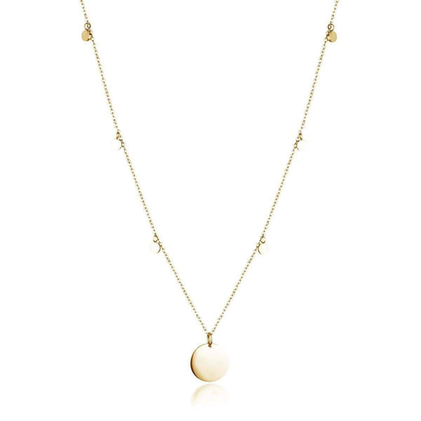 Dainty Necklace with playful discs and engravable Charm