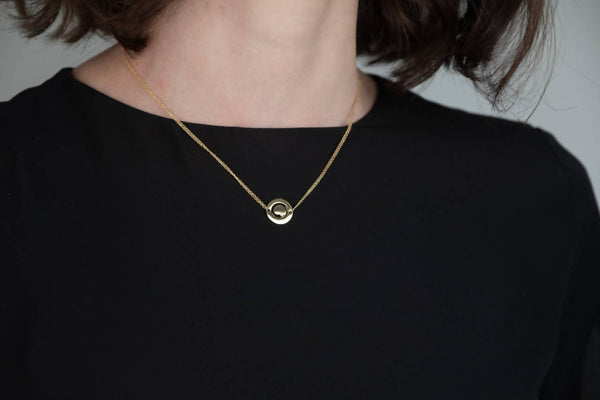 Zen Circle Diamond cut Chain Necklace