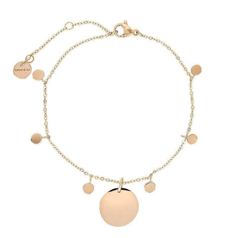 Dainty Bracelet with playful discs and engravable Charm