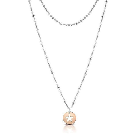 Rose Gold Star Necklace with Silver Ball Chain