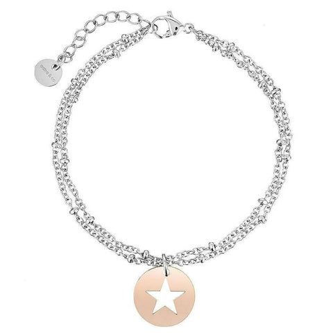 Silver Ball Chain Bracelet with Rose Gold Star Pendent