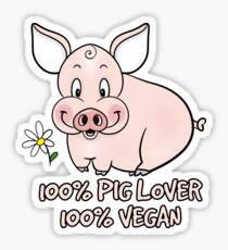 100% Pig Lover 100% Vegan - Sticker