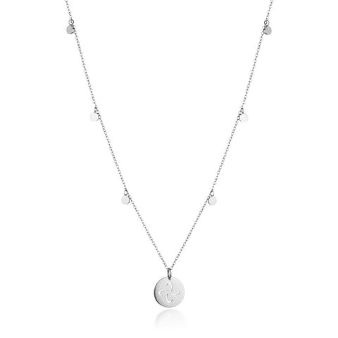 Dainty Necklace with playful discs and Tabono Symbol Charm