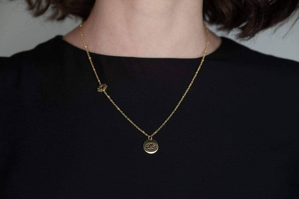 Lotus Charm Ball Chain Necklace with engravable Disc