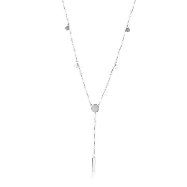 Dainty Necklace with playful discs and engravable disc