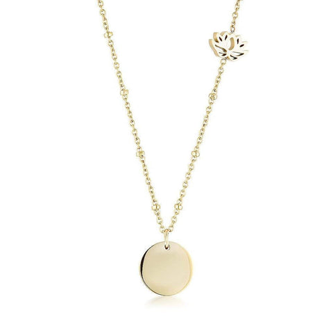 Lotus Charm Ball Chain Necklace with plain engravable Disc