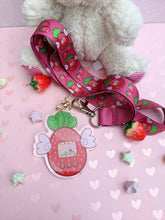 Load image into Gallery viewer, Strawberrygotchi Charm and Lanyard