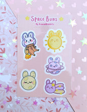 Load image into Gallery viewer, Space Buns 4x6 Sticker Sheet& Carrot Rocket (Patreon Exclusive)